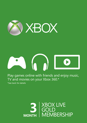 Microsoft 3 Month Xbox One, 360 Live Gold Subscription - Same Day Dispatch