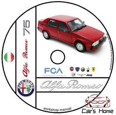 Manuale Officina Alfa Romeo 75 My 1985 - 1993 Workshop Manual Service Dvd