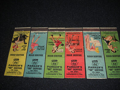 Parker's PHILLIPS 66 Service Station 1951 Pin Up Matchbook Covers Set of 6