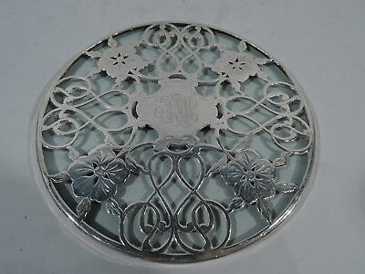Art Nouveau Trivet - Antique Pretty Floral - American Glass & Silver Overlay