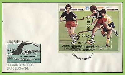 Nicaragua 1989 Olympics, Hockey M/S on First Day Cover