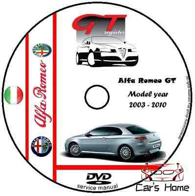 Manuale Officina Alfa Romeo Gt My 2003 - 2010 Workshop Manual Service Cd Dvd