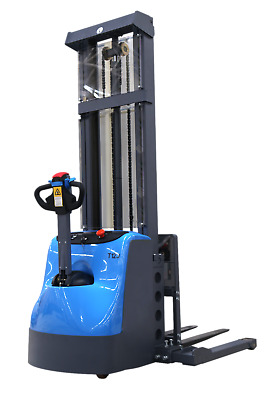 """Pallet Jack Fully Powered Walkie Straddle Stacker 2640lbs Cap. 118"""" Raise Ht."""