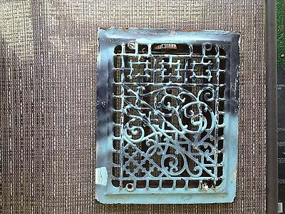 "5 fin Cast iron heating grate Geometrical top 9 3/4""X 11 3/4 '' STEAMPUNK"