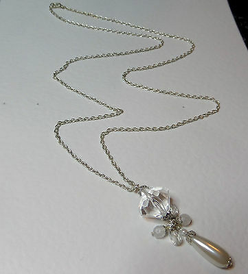"""LONG IVORY WHITE PEARL & CLEAR SILVER PLATED PENDANT NECKLACE 32"""" 80 cm PC"""