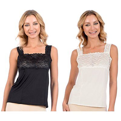 Patricia Lingerie Women's Silky Soft Stretch Camisole with Lace