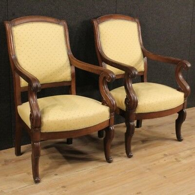 Pair of armchairs antique style Empire furniture living room chairs wood 800 XIX