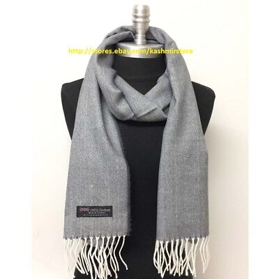 Men's 100% CASHMERE SCARF MADE IN SCOTLAND Herring Bone Tweed SOFT Gray/White