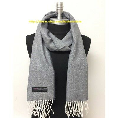 Men's 100%CASHMERE SCARF SOFT Wrap SCOTLAND Herring Bone Tweed Sliver Gray White