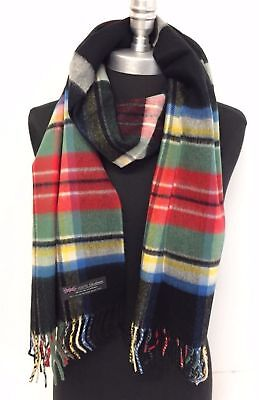 New Men's 100% CASHMERE SCARF MADE IN SCOTLAND Plaid Check Gray/Blue/Black/Cream