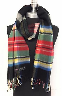 New Men's 100% CASHMERE SCARF Wrap MADE IN SCOTLAND Check Plaid Black Red Green