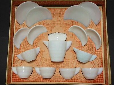 VERY Rare Akro Agate  ALL WHITE  Concentric Rib Boxed Child's Tea Set
