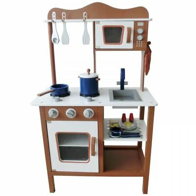 Wooden Coffee Kitchen Cooking Role Play Pretend Toy Cooker Oven Utensils Pan Set