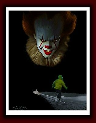 Artist Signed IT Movie Pennywise The Clown New HORROR Stephen King PRINT 2017