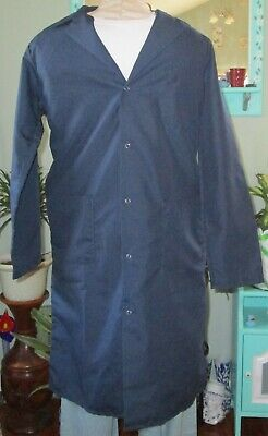 "Best Medical Men L/S Lab Coat Snaps side Vents 3 Pocket 43"" Length Navy Sz XS"