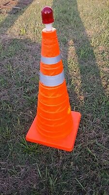 """COVO COLLAPSIBLE Safety Traffic Cone 24""""  Reflective  Strips ORANGE W/ LED LIGHT"""