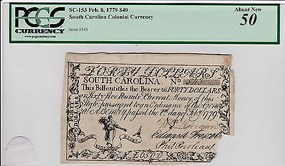 South Carolina $40  Colonial, VERY RARE AND POPULAR SC-153 PCGS 50, AMAZING BACK