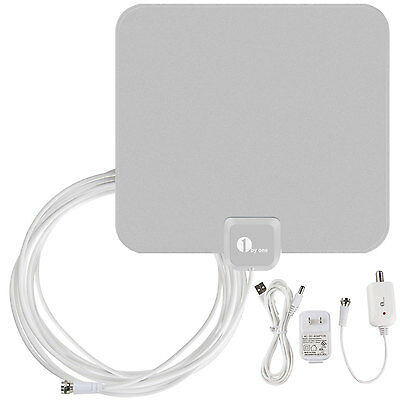 New Digital Indoor TV Antenna Amplifiered HDTV VHF UHF Flat High Gain 1080P