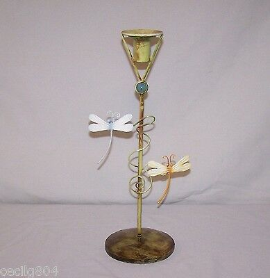 Interior Or Exterior Yellowish Dragonfly Candle Holder