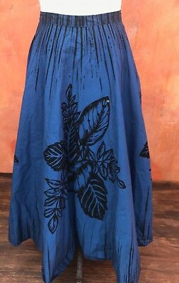 Vintage 1950s inspired novelty Mexican circle skirt Blue Black rockabilly pinup