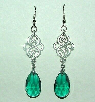 VICTORIAN STYLE PERSIAN DESIGN sea green FACETED GLASS SILVER PLATED EARRINGS