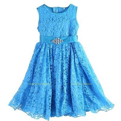#QZO Girls Children Bowknot Dress Lace Silk Gauze Bubble Dress(Sky Blue)