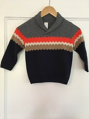 Gymboree Boys Sweater - Cotton - Gray Orange Navy - 3T / 3 Years - NEW