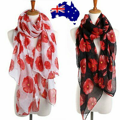 Women Ladies Poppy Print Floral Scarf Remembrance Poppies Scarves Wrap Shawl ON