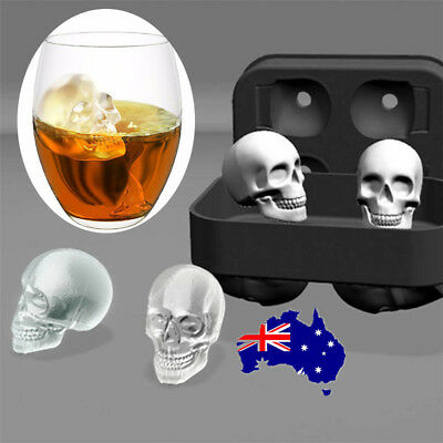 Whiskey Silicon Ice Cube Maker Mold Mould 3D Skull Brick Halloween Party Tray ON