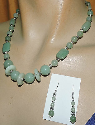 pale jade 925 necklace and earrings 1 of kind  lovely pale green jade necklace