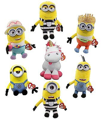 TY Beanie Babies Despicable Me 3 SET OF 7 (Fluffy Tom Tim Mel Jerry Dave Carl)