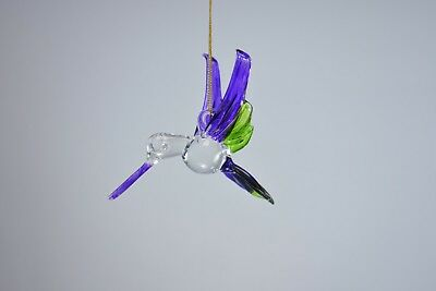 Hanging Humming Bird Purple Green Figurine of Blown Glass Crystal