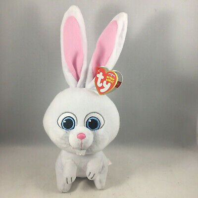 "TY Beanie Baby Plush Stuffed Animal 10"" SNOWBALL the Secret Life of Pets Rabbit"