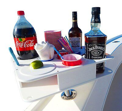 Docktail Fully Custom Boat Cup and Bottle Holder Bar Plus Magma Levelock All Rod