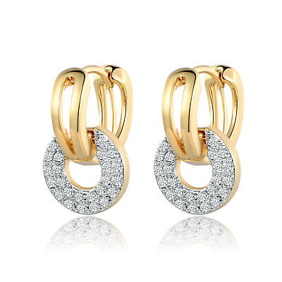Vintage Retro Round Yellow Gold Filled Plate Pave Diamond Lady Banquet Earrings