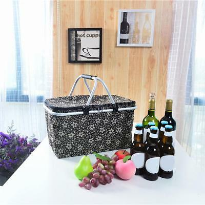 Large Folding Collapsible Picnic Basket Insulated Cooler Lunch Bag Tote Bag X4F9
