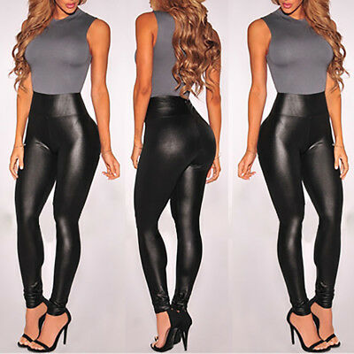 USA Legging Sexy PU Leather High Waist Stretch Slim Skinny Pencil Pants Women