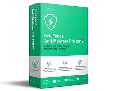 ByteFence Anti-Malware Pro 2017 Lifetime| 3 PC's| Windows| Key and Download link