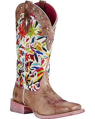 Ariat Women's Performance Circuit Champion Boot - Wide Square Toe Pink 8  M