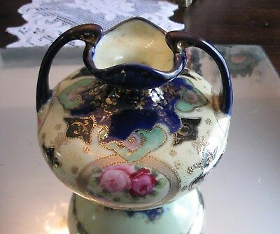 Gorgeous Antique Cobalt  Gilt Beaded  Hand Painted Nippon Handled Vase