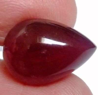 NATURAL GLEAMING DARK RED RUBY LOOSE GEMSTONE (18.2 x 13.3 mm) LARGE PEAR CAB