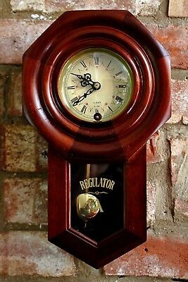 Vintage Regulator 31-Day Mahogany Case Wall Clock