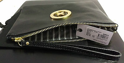 Mimco Supernatural Black leather Gold Pouch Clutch Wallet Purse Medium FREE Post