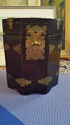 Vintage Old Korean OCTAGONAL WOODEN BOX CONTAINER BRASS FITTING