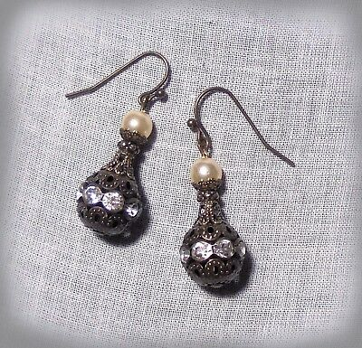 Brass Filigree Crystal Pearl Glass Earrings Renaissance Victorian Steampunk