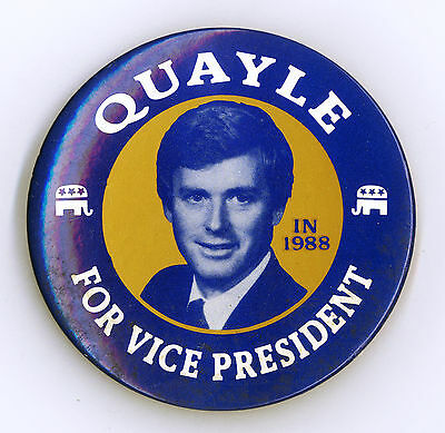 """*  ~ """" QUAYLE FOR VICE PRESIDENT IN 1988 """"  ~  1988 Campaign Button"""