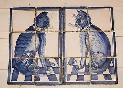 Wonderfull Old Dutch Blue and White Set of Fireplace tiles Cat and Mouse