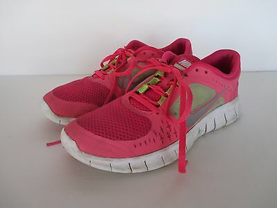 NIKE FREE RUN 3 Girls/Youth Pink Neon Green Shoes Size 7Y