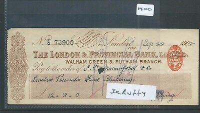 wbc. - CHEQUE - CH1400- USED -1902 - LONDON & PROVINCIAL BANK, WALHAM & FULHAM