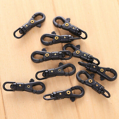 10Pcs New Plastic Black Carabiner KeyChain Key Hook Clamp Clip Buckle